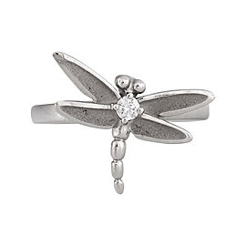 Tiffany & Co. 18K White Gold Diamond Dragonfly Ring Size 7