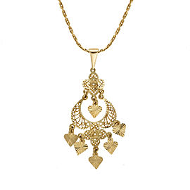 14K Yellow Gold Dangle Pendant Necklace