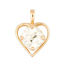 14k Yellow Gold Solitaire 1.5ct. Diamond Heart Pendant