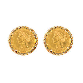 14K Yellow Gold & 22K Yellow Gold 1902 Liberty Coin Cufflinks