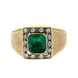 14k Yellow Gold Diamonds and Emerald Mens Ring