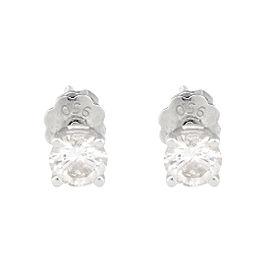Platinum 0.50ct. Diamond Screw Back Earrings