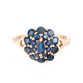 14K Yellow Gold Blue Synthetic Sapphire Cluster Ring Size 6