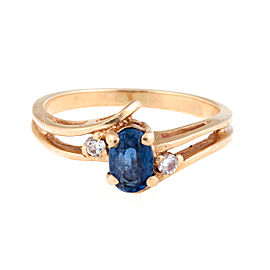14k Yellow Gold Oval Sapphire and 0.08ct. Diamonds Bypass Ring Size 5.75