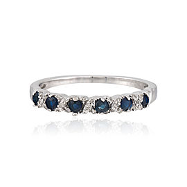 10K White Gold Sapphire and Diamond Band Ring Size 7