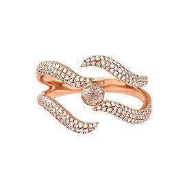 14K Rose Gold Brown and White Diamond Swirl Ring Size 7