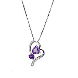 Sterling Silver Amethyst Heart Pendant Diamond Necklace