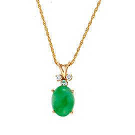 14K Yellow Gold Dyed Jadeite and 0.19ct. Diamond Necklace