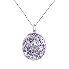 Silver 2.08 ct Cluster Tanzanite Pendant Necklace