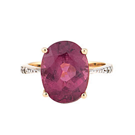 10K Yellow Gold Pink Tourmaline and Diamond Ring Size 5.5