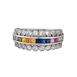 14K White Gold Multicolored Sapphire and Topaz Ring Size 7
