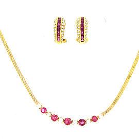 14K Yellow Gold Ruby & Diamond Earrings & Necklace Set
