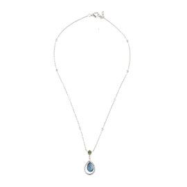 18k White Gold Diamond and Multi-Colored Sapphire Necklace