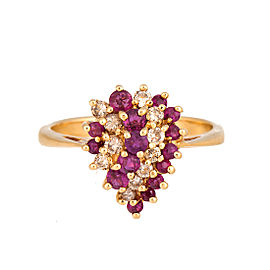 14K Yellow Gold Ruby & Diamond Pear Shaped Cluster Ring Size 6.5