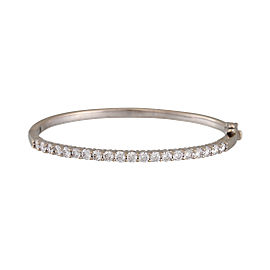 14K White Gold 2.50ctw. Diamond Hinged Bangle