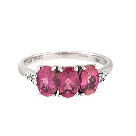 10K White Gold 3 Stone Pink Tourmaline and Diamond Ring Size 5.5