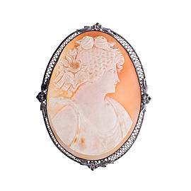 Sterling Silver Shell Cameo Filigree Pin Brooch