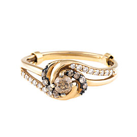 LeVian 14K Yellow Gold Chocolate and White Diamond Ring Size 7