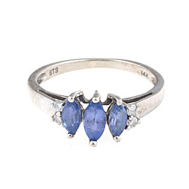 14k White Gold Marquise Amethyst and Round Brilliant Diamonds Ring Size 5.5