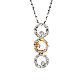 14K Yellow and White Gold 0.28ctw Diamond Circle Drop Pendant