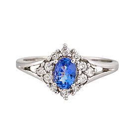 18K Whte Gold Tanzanite and Diamond Ring Size 6.5