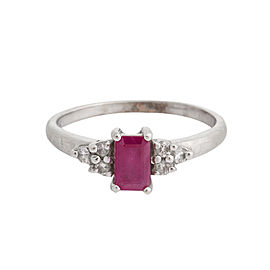 14K White Gold Ruby and 0.05 Ct Diamond Ring Size 4.5