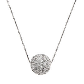 18K White Gold Pave Diamond Ball Slider Necklace