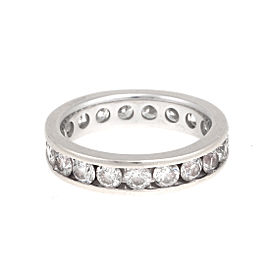 14K White Gold 2.96ct. Diamond Channel Eternity Band Ring Size 7