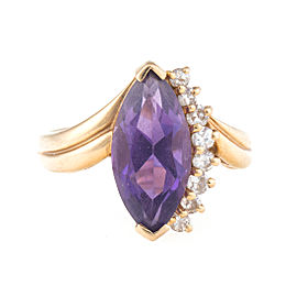 14K Yellow Gold 0.20ct. Diamond and Amethyst Cocktail Ring Size 4.5