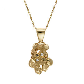14K Yellow Gold Nugget Pendant Necklace with 0.05ctw Diamonds