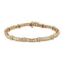 14K Yellow Gold with 1.85ct Diamond Line Bracelet
