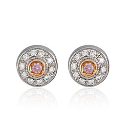 Platinum and Rose Gold Pink Diamond Stud Earrings