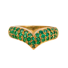 18K Yellow Gold 1.40ct. Emerald Chevron Ring Size 7.5