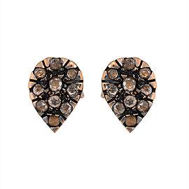 18K and Sterling Silver Rose Cut Diamond Stud Earrings