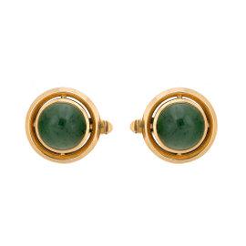 18K Yellow Gold Nephrite Jade Cufflinks
