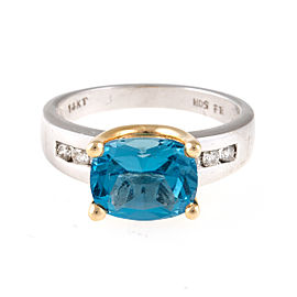 14K White Gold Diamond and Blue Topaz Ring Size 7