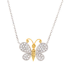 18K Yellow and White Gold Diamond Butterfly Necklace