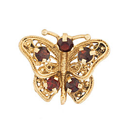 14K Rose Gold Garnet Butterfly Pin Brooch