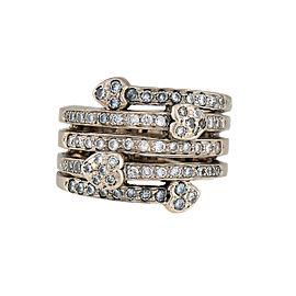 14K White Gold 0.80ctw Diamond Heart Ring Size 7.5
