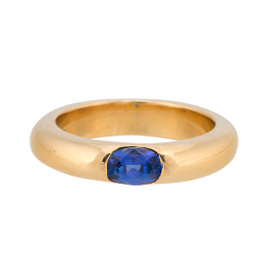 18K Yellow Gold Iolite Band Ring Size 5.5