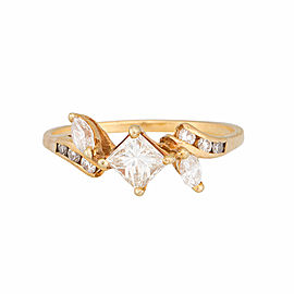18K Yellow Gold Princess Cut Diamond Ring Size 7