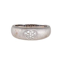 18K White Gold Satin Finish 0.10ctw Diamond Heart Ring Size 9