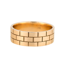 18K Yellow Gold Wide Brick Band Ring Size 12