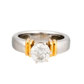 Platinum and 18K Yellow Gold Round Brilliant 1.10ct. Diamond Engagement Ring Size 4.25
