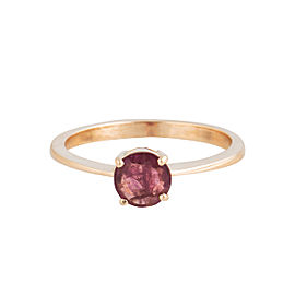 14K Rose Gold Synthetic Ruby Solitaire Ring Size 7