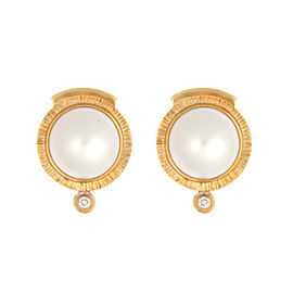 18K Yellow Gold Mabe Pearl and 0.02ct. Diamond Studs