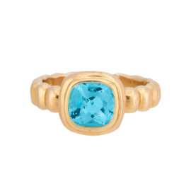 18K Yellow Gold Blue Topaz Ring Size 5.5