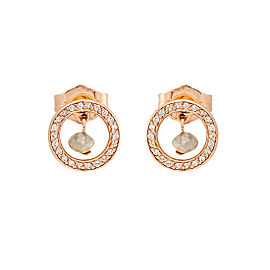14K Rose Gold Pave Diamond Circle Earrings with .11ctw Rough Diamonds