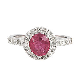 14K White Gold Ruby and Diamond Ring Size 6.75