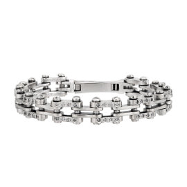 14K White Gold with Diamonds Bicycle Chain Style Mens Bracelet